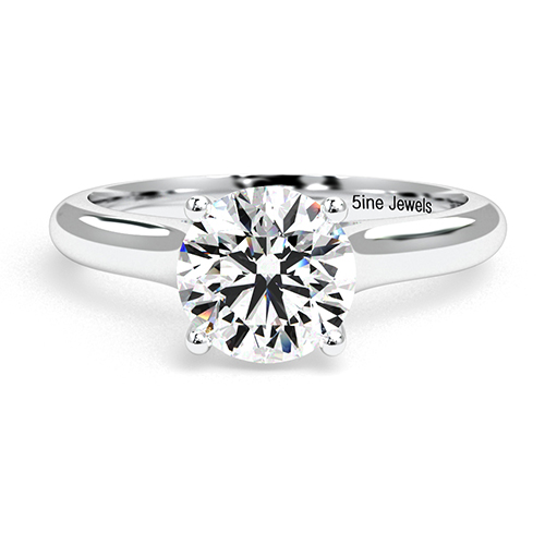 Round Brilliant Cut Cross Prong  Solitaire  Engagement Ring