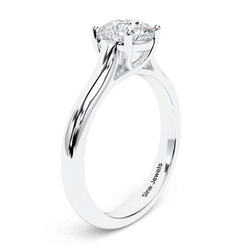 1.50 Ct SI2 G Round Brilliant Cut Cross Prong Diamond Solitaire Engagement Ring 18K-White Gold