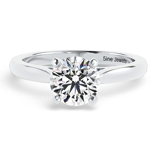 1.00 Ct SI1 H Round Brilliant Cut Tapered Diamond Solitaire Engagement Ring 18K-White Gold