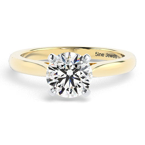 Round Brilliant Cut Tapered  Solitaire  Engagement Ring