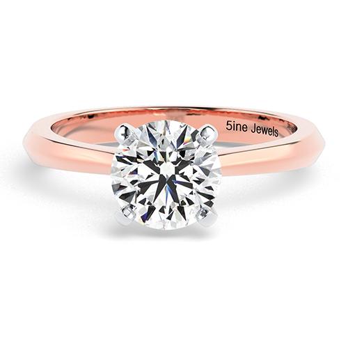 Round Brilliant Cut Knife Edge Diamond Solitaire Engagement Ring