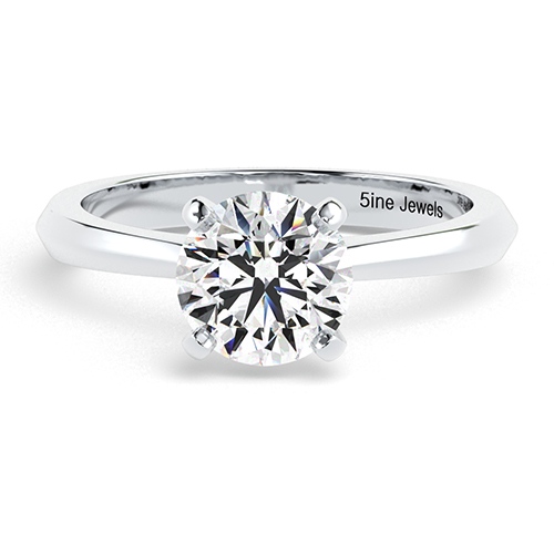 Round Brilliant Cut Knife Edge  Solitaire  Engagement Ring