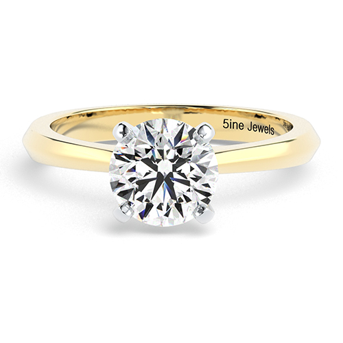 Round Brilliant Cut Knife Edge Diamond Solitaire Engagement Ring