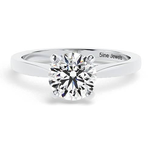 Round Brilliant Cut Petite Diamond Solitaire Engagement Ring