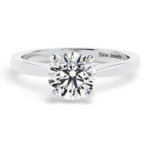 1.00 Ct SI1 G Round Brilliant Cut Petite Diamond Solitaire Engagement Ring 18K-White Gold