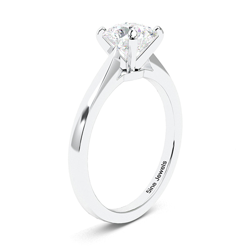 1.00 Ct SI1 G Round Brilliant Cut Petite Diamond Solitaire Engagement Ring 18K-White Gold
