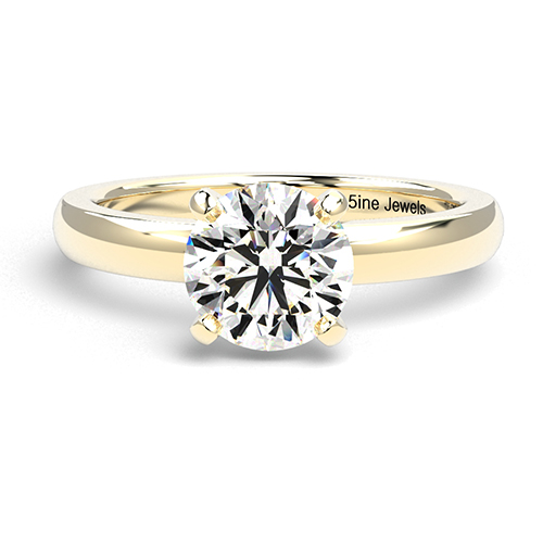 Round Brilliant Cut Comfort fit 4 Prong Diamond Solitaire Engagement Ring
