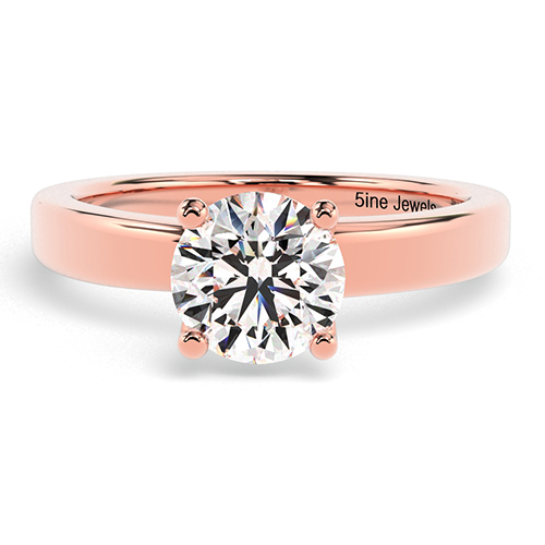 Round Brilliant Cut Crossover 4 Prong Diamond Solitaire Engagement Ring