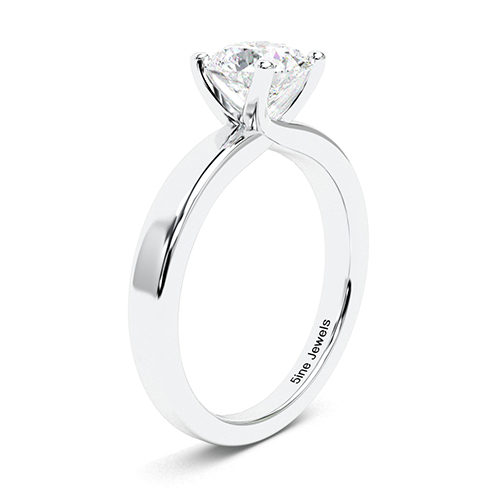 Round Brilliant Cut Crossover 4 Prong  Solitaire  Engagement Ring