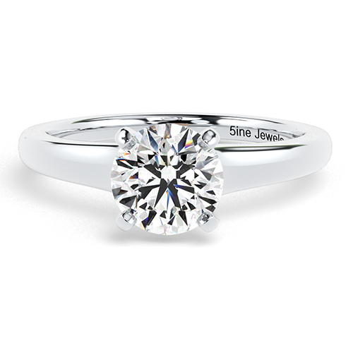 Round Brilliant Cut Contemporary Diamond Solitaire Engagement Ring