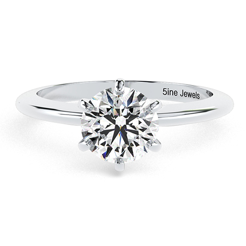 Round Brilliant Cut Tapered 6 Prong Diamond Solitaire Engagement Ring