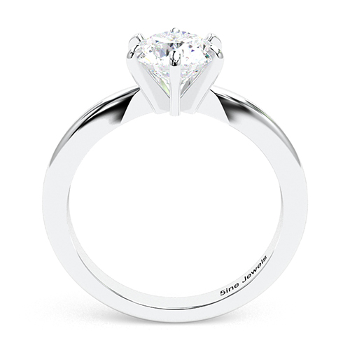 1.00 Ct SI1 H Round Brilliant Cut Tapered 6 Prong Diamond Solitaire Engagement Ring 18K-White Gold