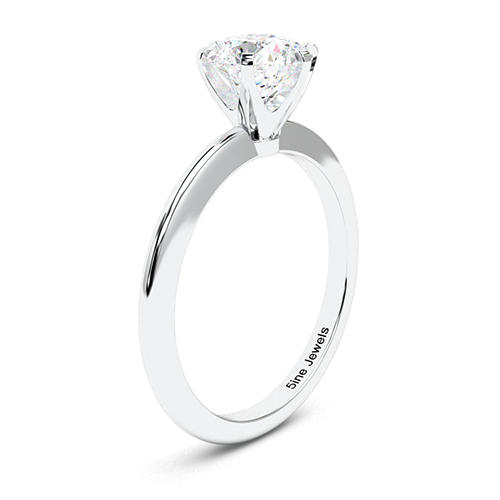 1.00 Ct SI1 G Round Brilliant Cut Tapered 6 Prong Diamond Solitaire Engagement Ring 18K-White Gold