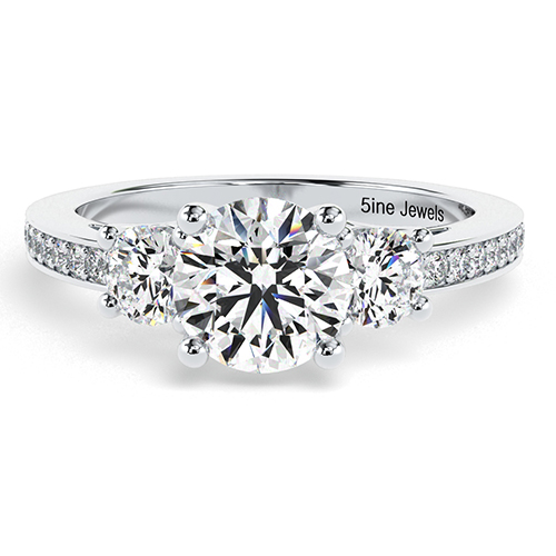 Round Brilliant Cut Vintage Style Diamond Three Stone Engagement Ring