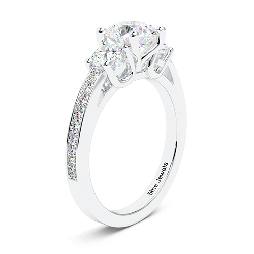 1.95 Ct SI1 G Round Brilliant Cut Vintage Style Diamond Three Stone Engagement Ring 18K-White Gold