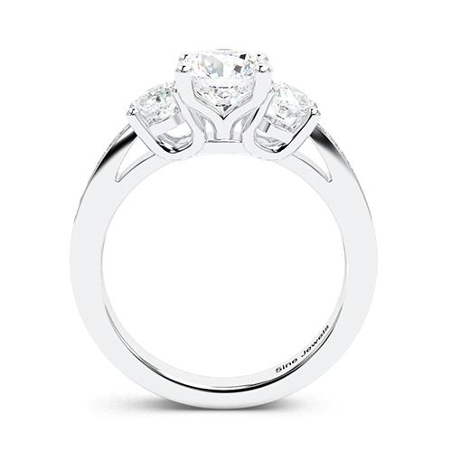 1.95 Ct SI1 G Round Brilliant Cut Vintage Style Diamond Three Stone Engagement Ring 18K-White Gold