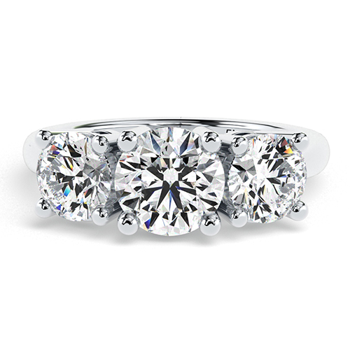 1.70 Ct SI2 H Round Brilliant Cut Simple Diamond Three Stone Engagement Ring 18K-White Gold