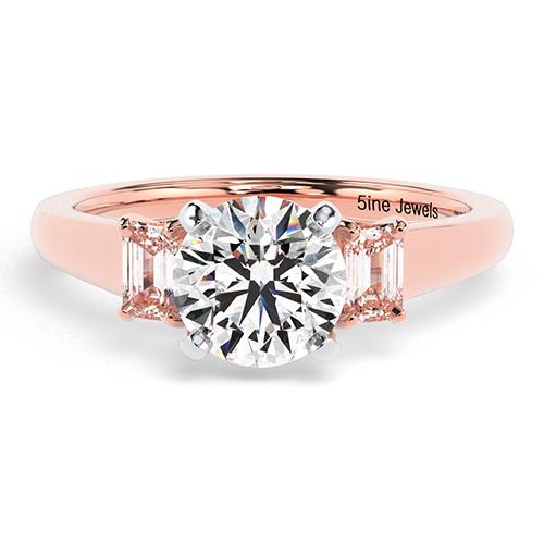 Round Brilliant Cut Classic Style Diamond Three Stone Engagement Ring