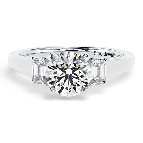 Round Brilliant Cut Classic Style Diamond Three Stone Engagement Ring