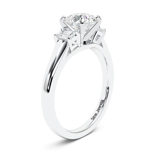 1.45 Ct SI2 G Round Brilliant Cut Classic Style Diamond Three Stone Engagement Ring 18K-White Gold