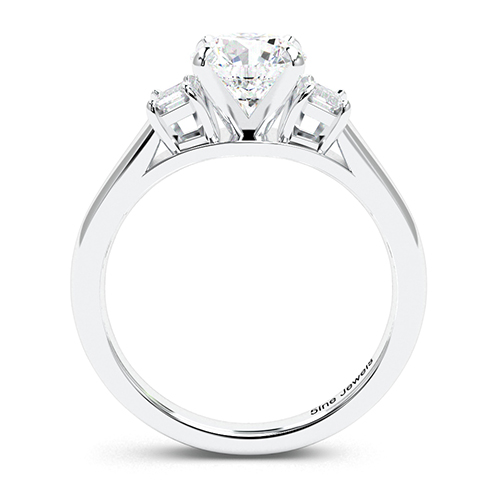 Round Brilliant Cut Classic Style Diamond Three Stone Engagement Ring 18K-White Gold