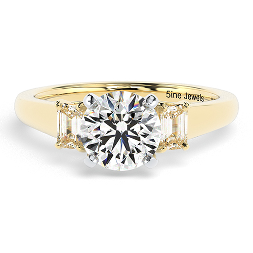 Round Brilliant Cut Classic Style  Three Stone  Engagement Ring
