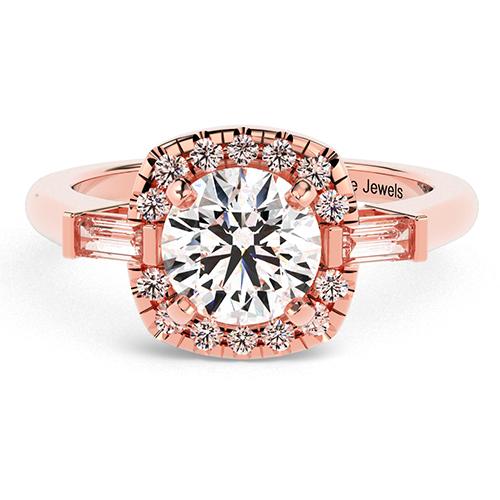 Round Brilliant Cut Vintage Style Diamond Three Stone Engagement Ring