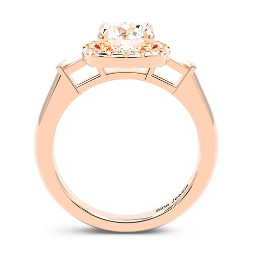 Round Brilliant Cut Vintage Style  Three Stone  Engagement Ring