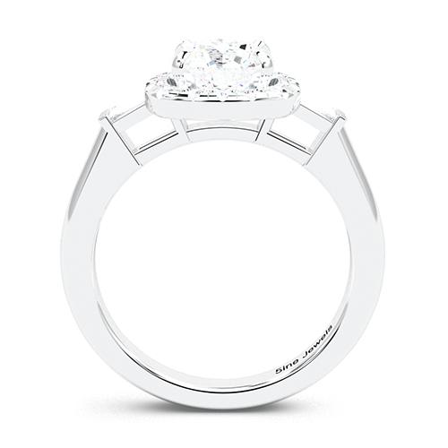1.35 Ct SI2 G Round Brilliant Cut Vintage Style Diamond Three Stone Engagement Ring 18K-White Gold