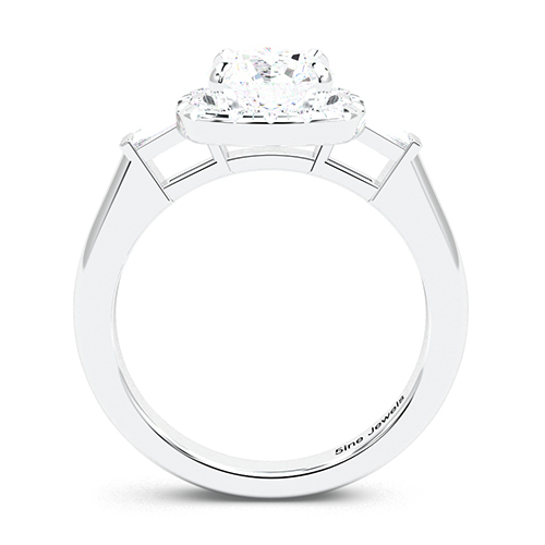 1.35 Ct SI2 G Round Brilliant Cut Vintage Style Diamond Three Stone Engagement Ring 18K-White Gold