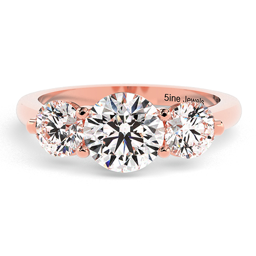 Round Brilliant Cut Crossover Prong  Three Stone  Engagement Ring