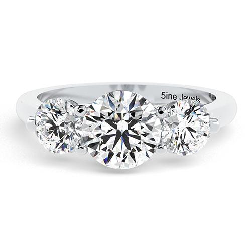 Round Brilliant Cut Crossover Prong Diamond Three Stone Engagement Ring