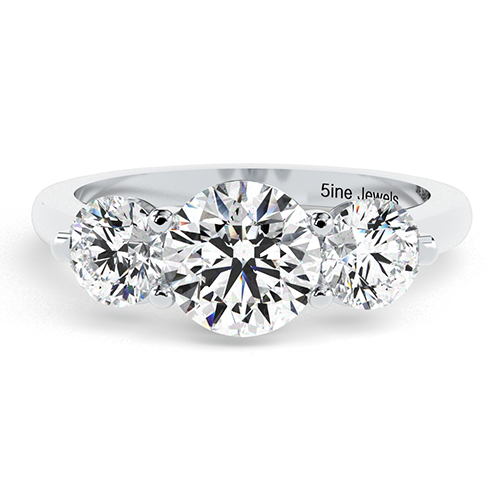 Round Brilliant Cut Crossover Prong Diamond Three Stone Engagement Ring