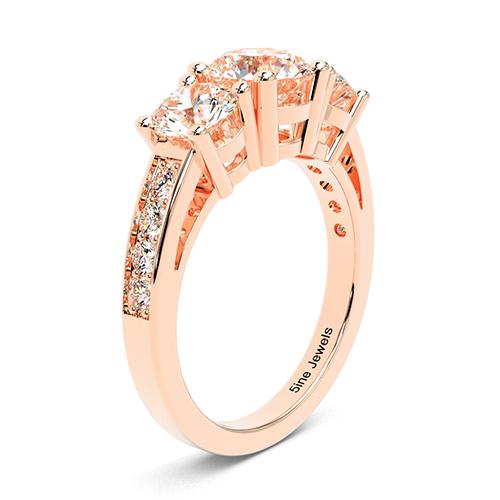 Round Brilliant Cut Heirloom  Three Stone  Engagement Ring