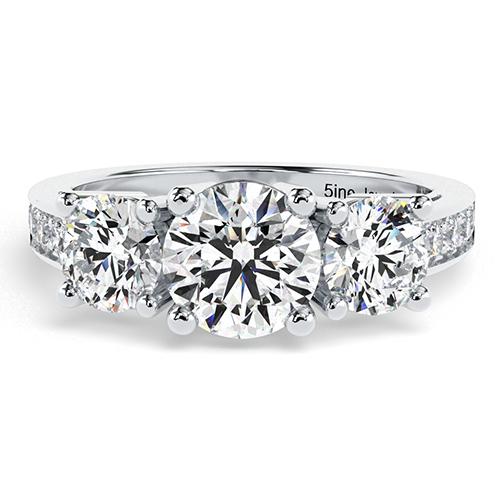 1.30 Ct SI1 H Round Brilliant Cut Heirloom Diamond Three Stone Engagement Ring 18K-White Gold