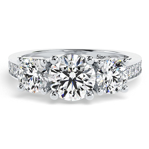 Round Brilliant Cut Heirloom Diamond Three Stone Engagement Ring