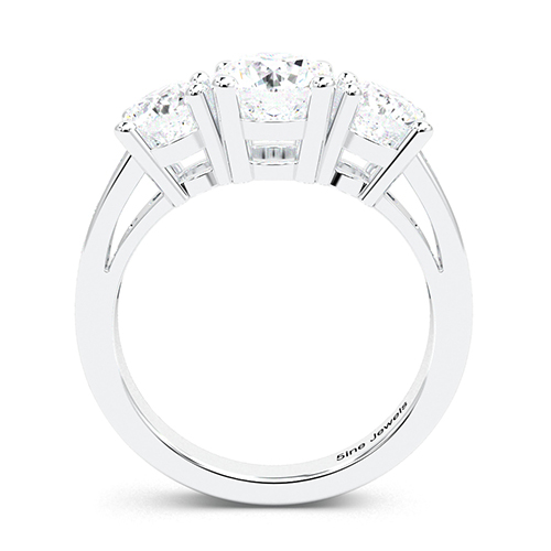 1.30 Ct SI1 H Round Brilliant Cut Heirloom Diamond Three Stone Engagement Ring 18K-White Gold