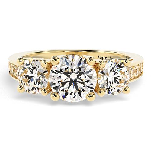 1.30 Ct SI1 H Round Brilliant Cut Heirloom Diamond Three Stone Engagement Ring 18K-Yellow Gold