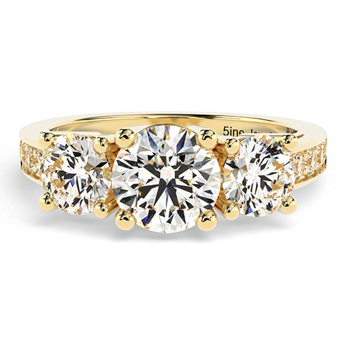 Round Brilliant Cut Heirloom Diamond Three Stone Engagement Ring