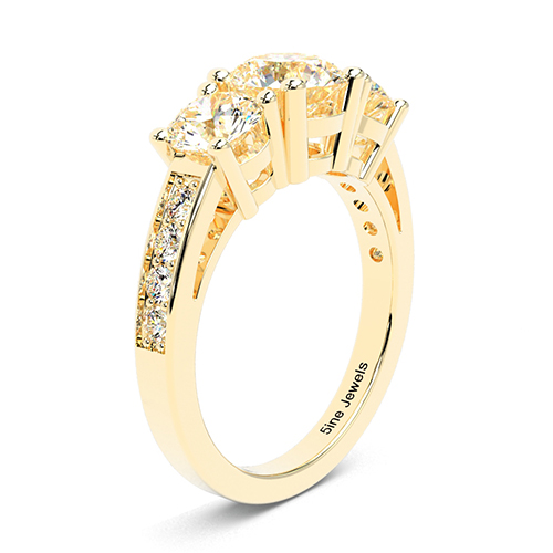 1.30 Ct SI1 H Round Brilliant Cut Heirloom Diamond Three Stone Engagement Ring 18K-Yellow Gold