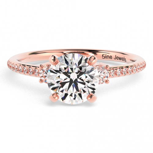 Round Brilliant Cut Petite  Three Stone  Engagement Ring