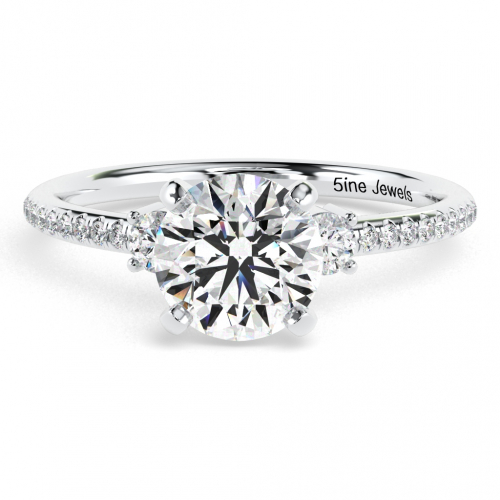 Round Brilliant Cut Petite Diamond Three Stone Engagement Ring