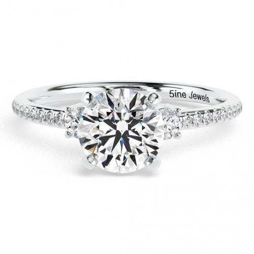 1.40 Ct SI2 F Round Brilliant Cut Petite Diamond Three Stone Engagement Ring 18K-White Gold