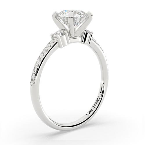 Round Brilliant Cut Petite Diamond Three Stone Engagement Ring 18K-White Gold