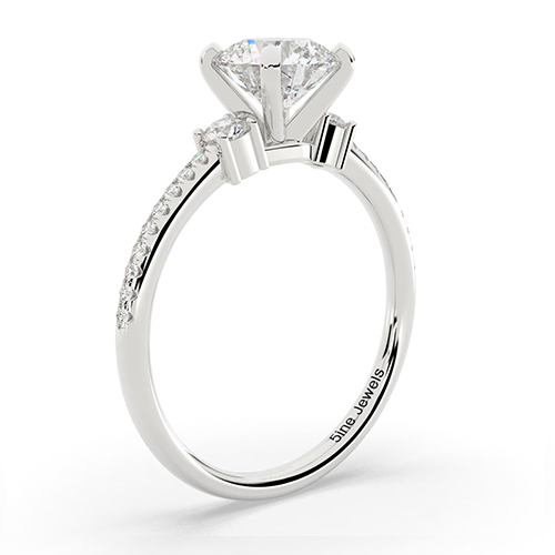 1.40 Ct SI2 F Round Brilliant Cut Petite Diamond Three Stone Engagement Ring 18K-White Gold