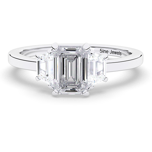 1.60 Ct SI1 H Emerald Cut Contemporary Diamond Three Stone Engagement Ring 18K-White Gold
