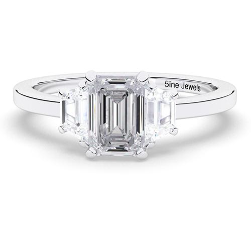 1.60 Ct SI1 H Emerald Cut Contemporary Diamond Three Stone Engagement Ring 18K-White Gold