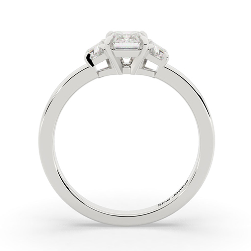 Emerald Cut Contemporary  Three Stone  Engagement Ring