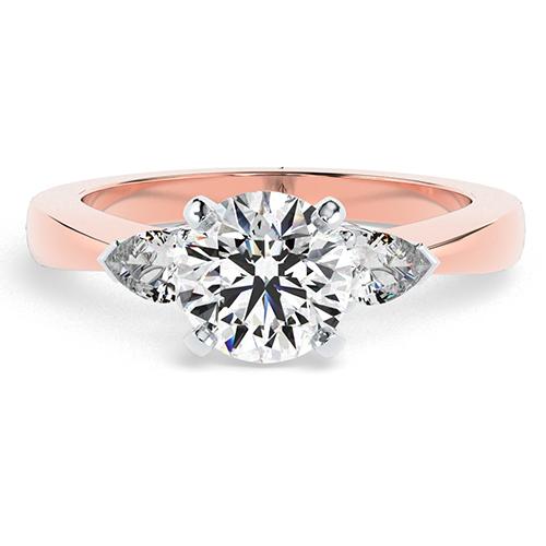 Round Brilliant Cut Pear  Three Stone  Engagement Ring