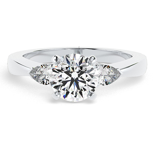 Round Brilliant Cut Pear Diamond Three Stone Engagement Ring